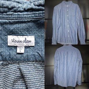 $198 Steven Alan polka dot-pindot chambray shirt L